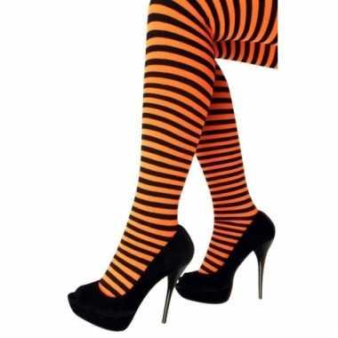 Oranje met zwarte panty gestreept