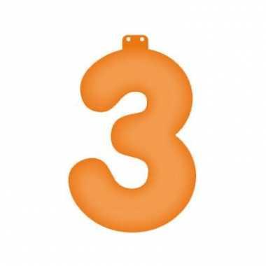 Oranje opblaasbare getal 3