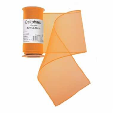 Oranje organza strook 12 x 300 cm