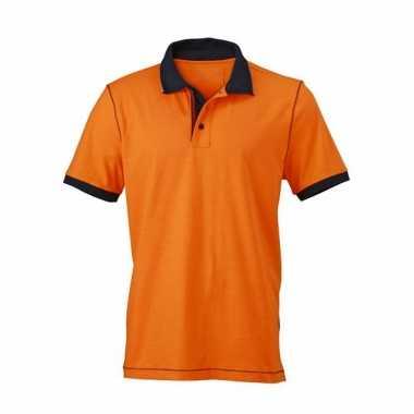 Oranje poloshirt met korte mouwen