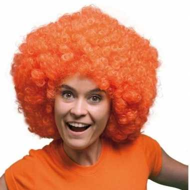 Oranje pruiken mega afro