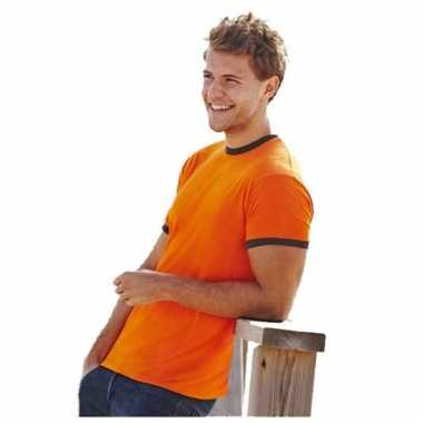 Oranje ringer t-shirt met contrast kleuren
