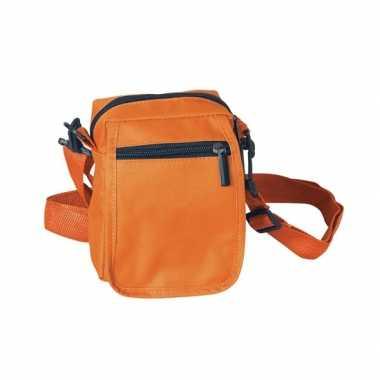 Oranje schoudertasje van polyester 15 cm
