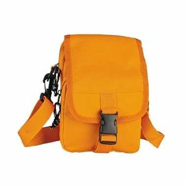 Oranje schoudertasje van polyester 18 cm