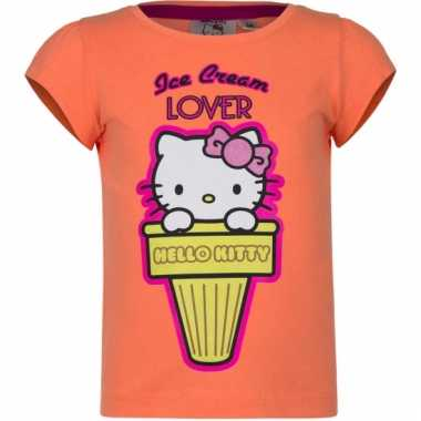 Oranje shirt met hello kitty