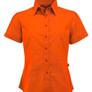 Oranje shortsleeve dames overhemd