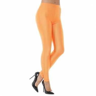 Oranje spandex verkleed legging voor dames