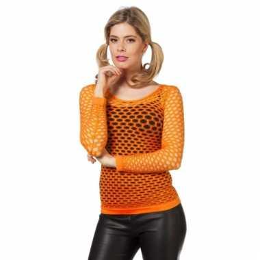 Oranje t-shirt met gaatjes