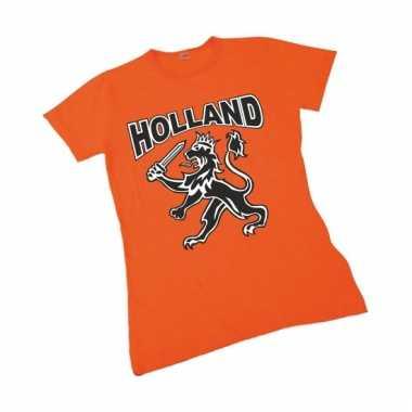 Oranje t-shirt met hollandse leeuw voor dames