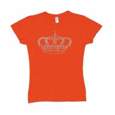 Oranje t-shirt met kroontje voor dames