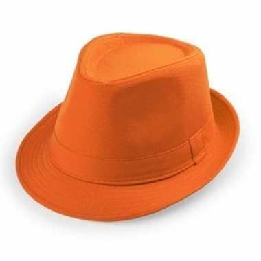 Oranje trilby hoedjes voor volwassenen