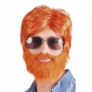 Oranje verkleed pruik met baard en snor