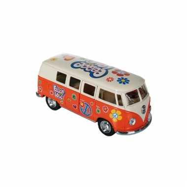 Oranje vw model bus 12,5 cm
