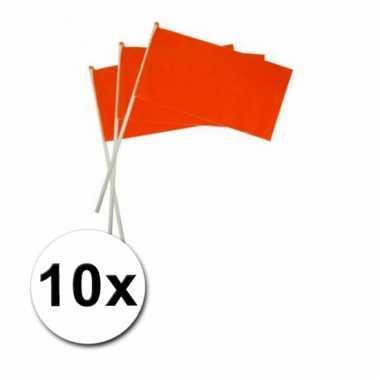 Oranje zwaaivlaggetjes 10 x