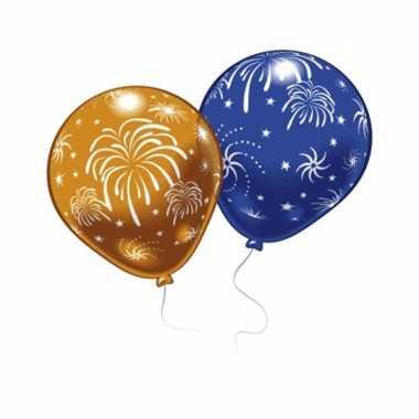 Oud en nieuw ballonnen met vuurwerkprint