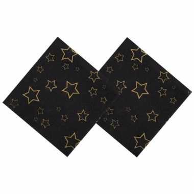 Oud en nieuw servetten met gouden sterren 25 x 25 cm