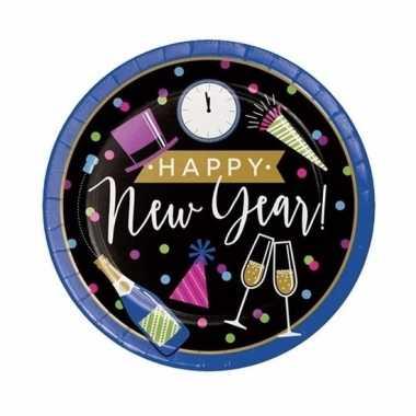 Oud en nieuw wegwerp borden happy new year 23 cm