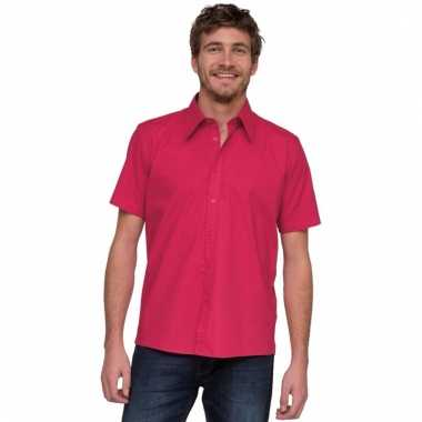 Overhemd met korte mouw voor heren roze