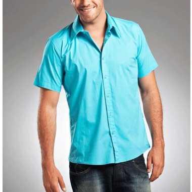 Overhemd met korte mouw voor heren turquoise