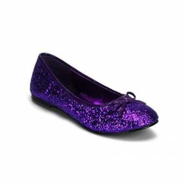 Paars gekleurde ballerina schoenen met glitters