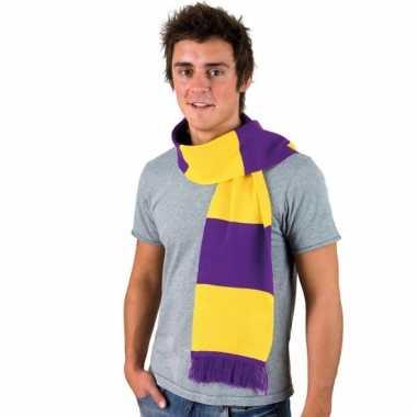 Paars met geel gestreepte heren sjaal