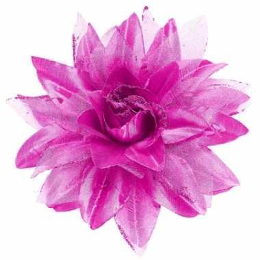 Paarse bloem haarspeld met glitters