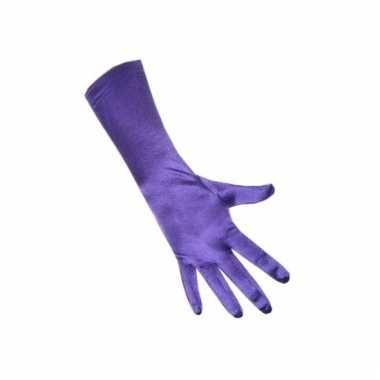 Paarse strech handschoenen van satijn