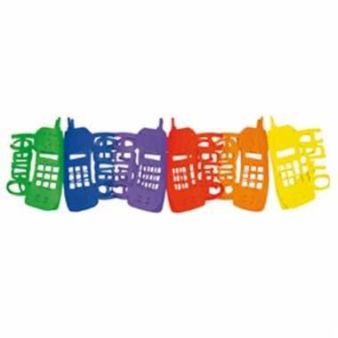 Papieren etalage slingers in de vorm van telefoons