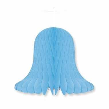Papieren klok lichtblauw 20 cm