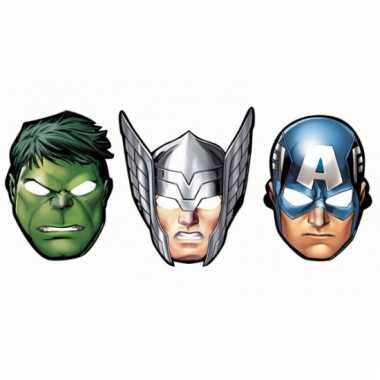 Papieren the avengers feest maskers 8 stuks