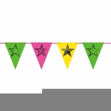 Party vlaggenlijn neon 6 meter