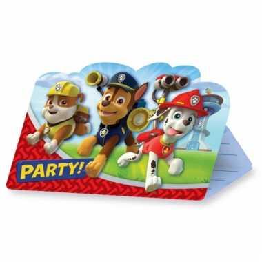 Paw patrol feest uitnodigingen 8 stuks