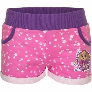 Paw patrol short roze voor meisjes