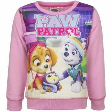 Paw patrol sweatshirt voor meisjes roze