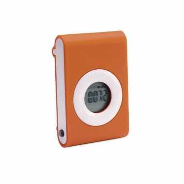 Pedometer met broekriem clip oranje