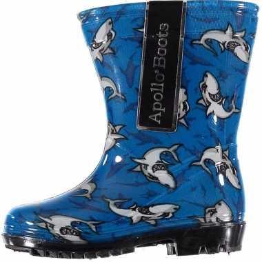 Peuter regenlaarzen blauw met haaien