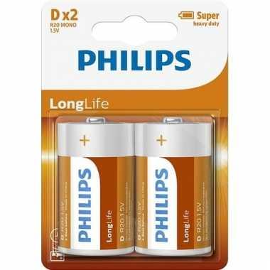 Phillips ll batterijen pakket r20 1,5 volt 2 stuks