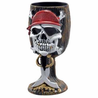 Piraat drinkbeker met doodshoofd