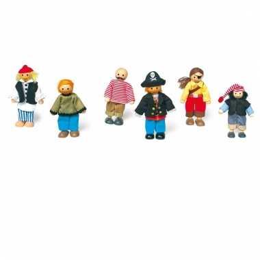 Piraat poppetjes set van 6 stuks