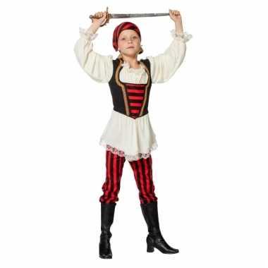 Piraat verkleedoutfit rood/zwart voor kinderen