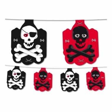 Piraten feest slinger zwart/rood 350 cm