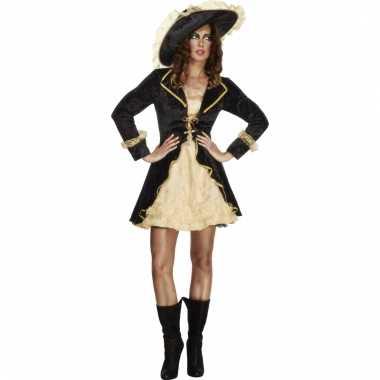 Piraten outfit met jasje zwart/goud