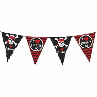 Piraten vlaggenlijn versiering zwart/rood