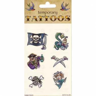 Plak tatoeages piraten thema