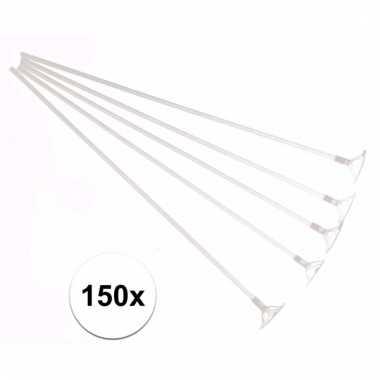 Plastic ballonstaafjes 150 stuks wit