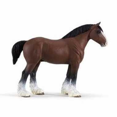 Plastic dieren paardje clydesdale hengst 13 cm