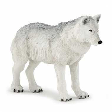 Plastic dieren witte wolf 9,5 cm