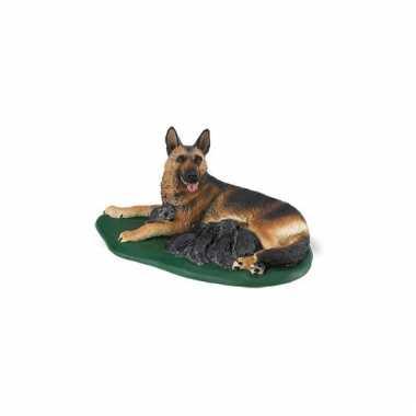 Plastic duitse herder met puppies 10 cm