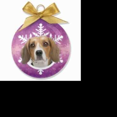 Plastic kerstbal beagle paars