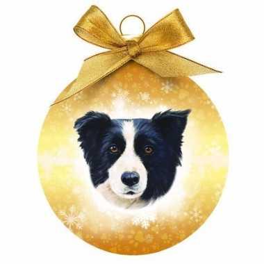 Plastic kerstbal border collie hond